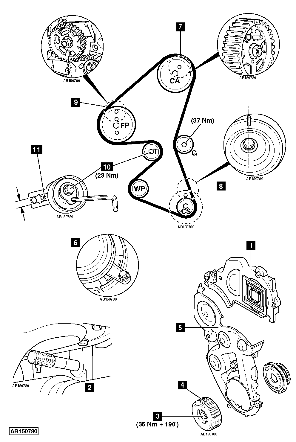 disconnect timing belt from camshaft pulleys