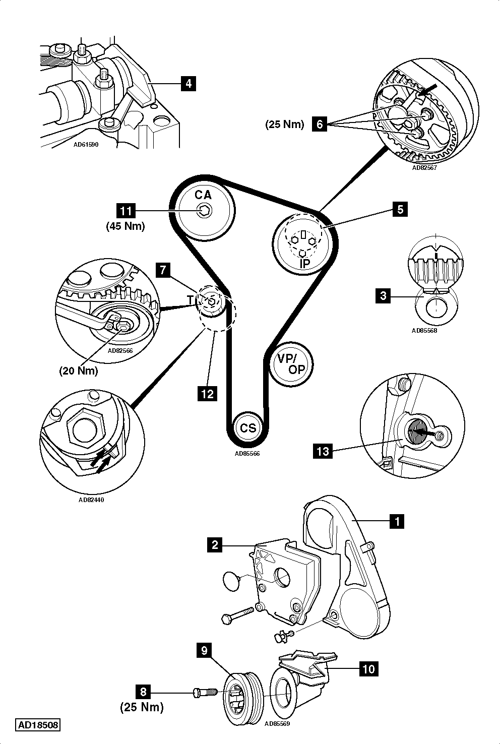 vw tdi timing belt diagram