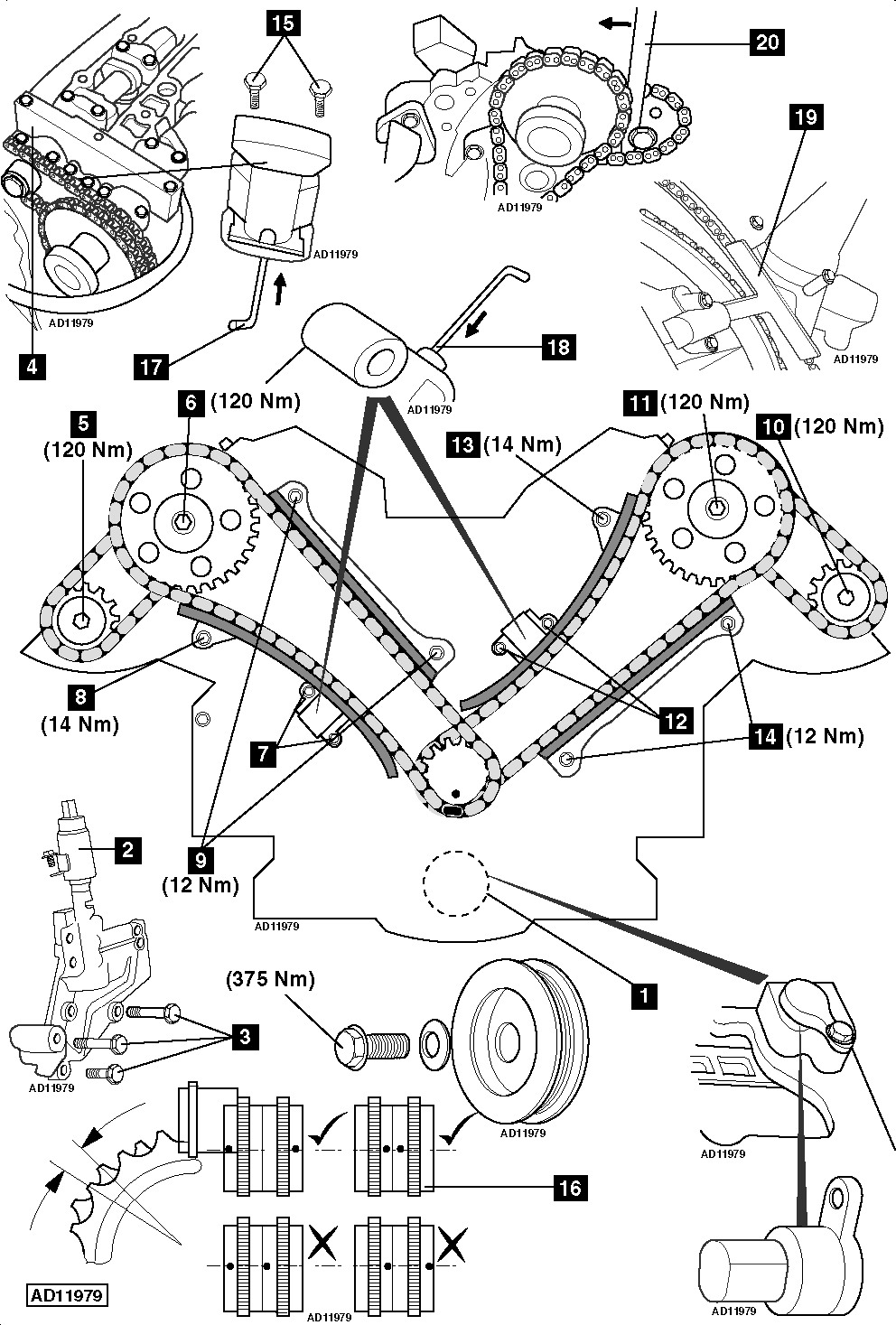 how to replace timing chains on jaguar s type 4 0 32v 1999 2002 rh replace timing belt com 2004 Jaguar S Type Engine Diagram 2002 Jaguar XJ8 Engine Diagram